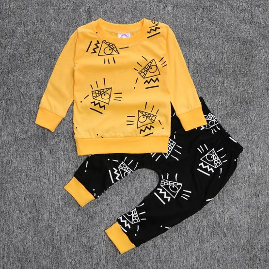 2 Pieces Third Eye T-shirt Tops + Pants Kids Clothes Set Fashionable Baby Outfit