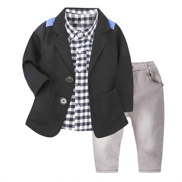 3 Pieces Check Skinny Shirt + 2 Buttons Blazer and Denim Jeans Kids Clothes Set Fashionable Boy Outfit