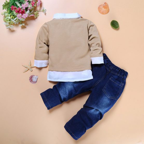3 Pieces Combined Cardigan + White Shirt + Bow Tie And Denim Jeans Pants Clothes Set fashionable Boy Outfit