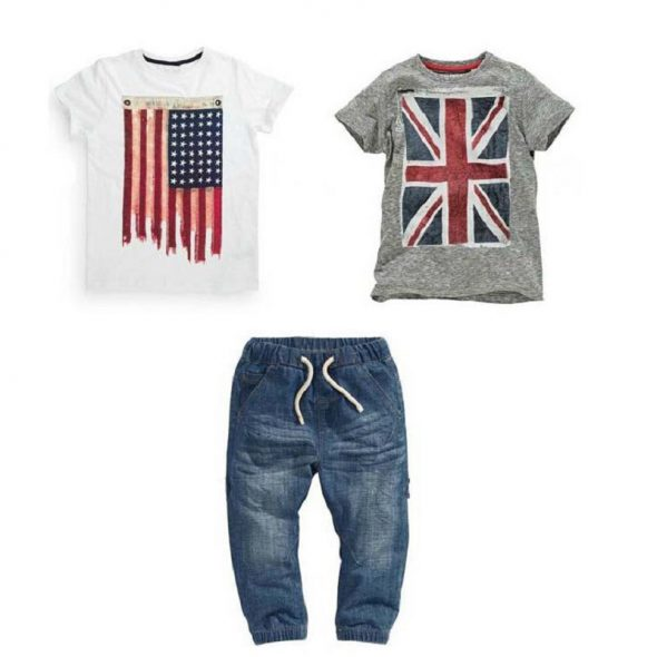 3 Pieces Union Jack + American Flag T-Shirts And Denim Joggers Pants Clothes Set Casual Boy Outfit