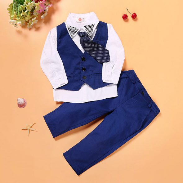 4 Pieces White Shirt With Tie + Skinny Waistcoat and Pants Set Fashionable Boy Outfit