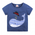 2 Pieces Summer Beach Stylish T-Shirt With Whale Patched + Comfy White and Red Striped Shorts Clothes Set fashionable Boy Outfit