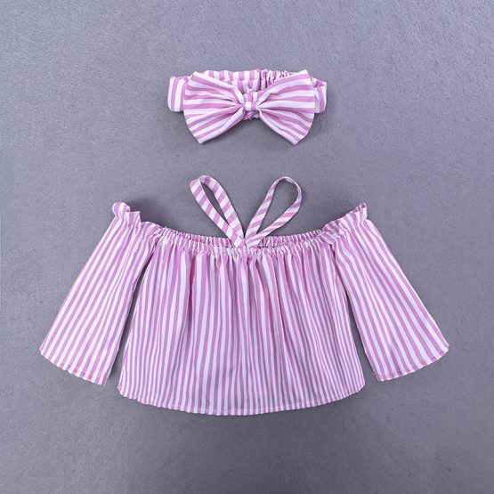 3 Pieces Summer Off Shoulder Pink Striped Top With Matching Bow Headband + Ripped Skinny Pink Pants Clothes Set fashionable Girls Outfit