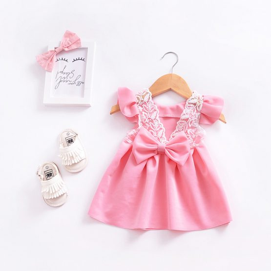 1 Piece Summer Pink Ruffle Shoulder Back Bow Tie and Lace Detail Swing Dress Clothes Set fashionable Girls Outfit
