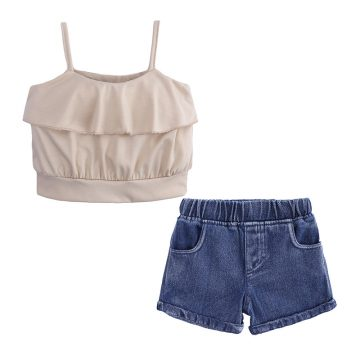 2 Pieces Summer Base Blush Ruffle Sleeveless Top + Back Pocket Denim Short Clothes Set fashionable Girls Outfit