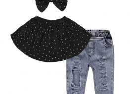 3 Pieces Summer Black Polka Dot Frill Bandeau Top With Matching Headband + Ripped Denim Pants Clothes Set fashionable Girls Outfit