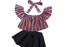3 Pieces Summer Stripe Off Shoulder Top With Matching Headband + Bow Tie Waist Skirt Clothes Set fashionable Girls Outfit