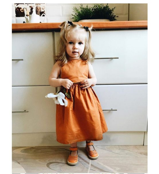 Bow Knot Back Marmalade Ruffle Shoulder Swing Dress Clothes Set fashionable Girls Outfit