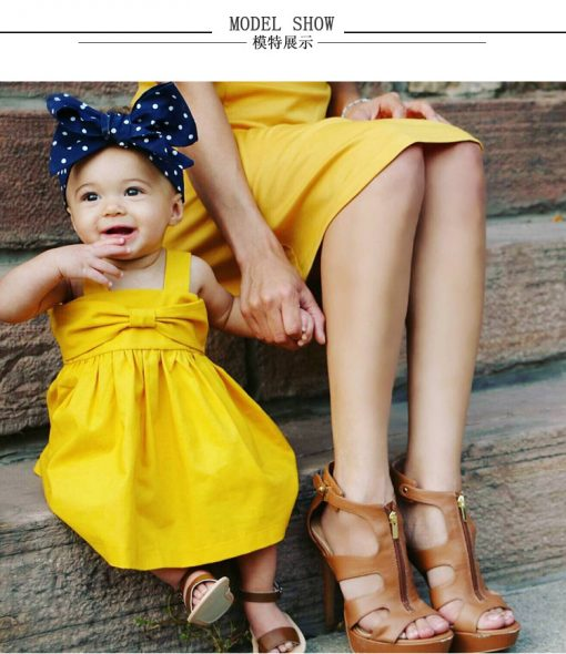 Yellow Mustard Bow Knot Back Shirring Detail Swing Dress Clothes Set fashionable Girls Outfit
